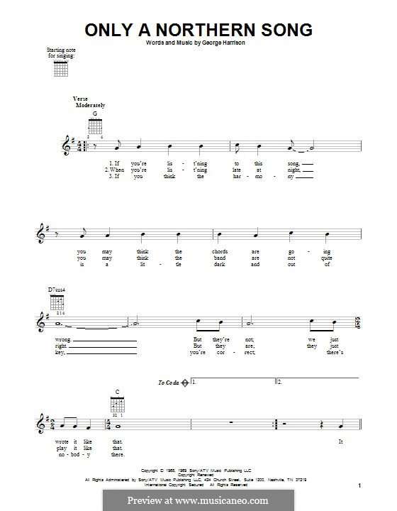 Only a Northern Song (The Beatles): Гитарная табулатура by George Harrison