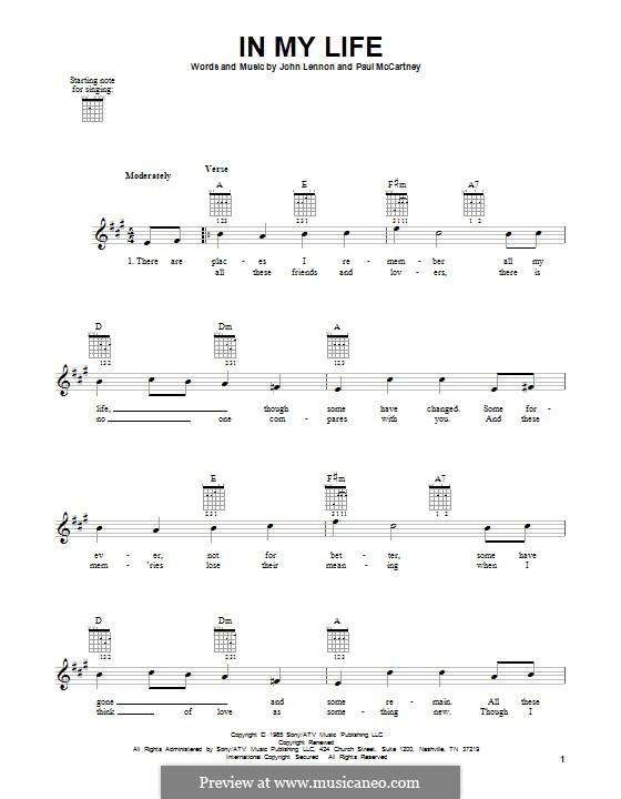 In My Life (The Beatles): Гитарная табулатура by John Lennon, Paul McCartney