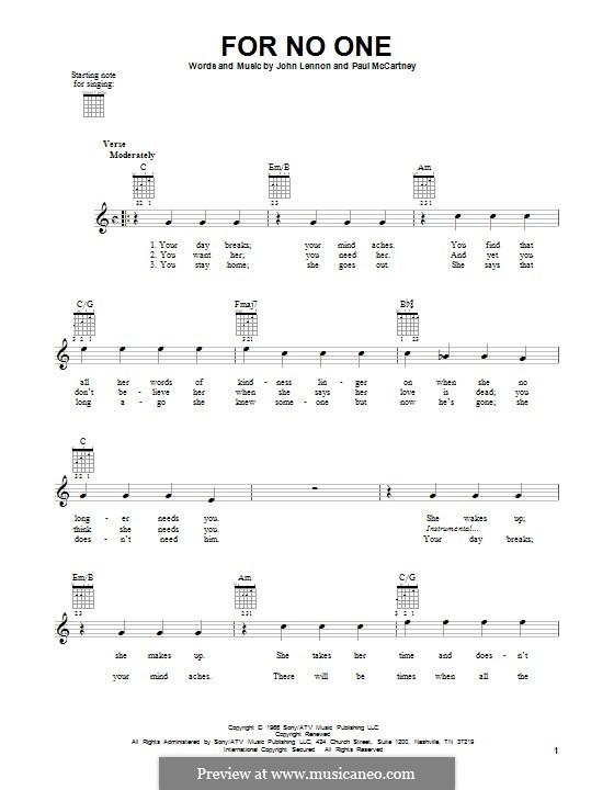 For no One (The Beatles): Гитарная табулатура by John Lennon, Paul McCartney