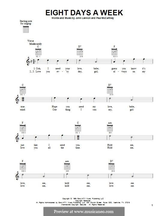 Eight Days a Week (The Beatles): Гитарная табулатура by John Lennon, Paul McCartney