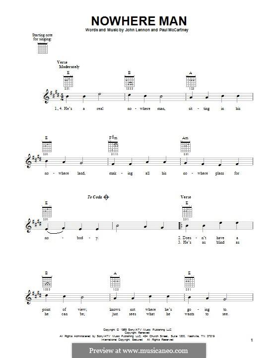 Nowhere Man (The Beatles): Гитарная табулатура by John Lennon, Paul McCartney