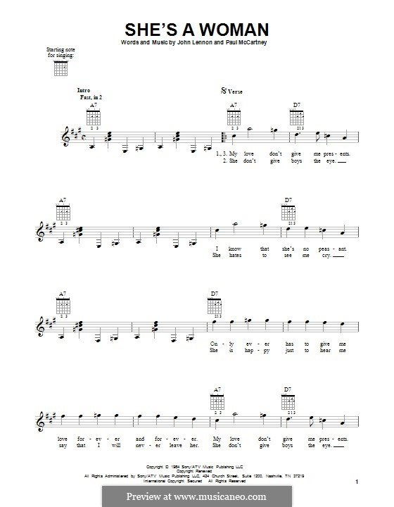 She's a Woman (The Beatles): Для гитары by John Lennon, Paul McCartney