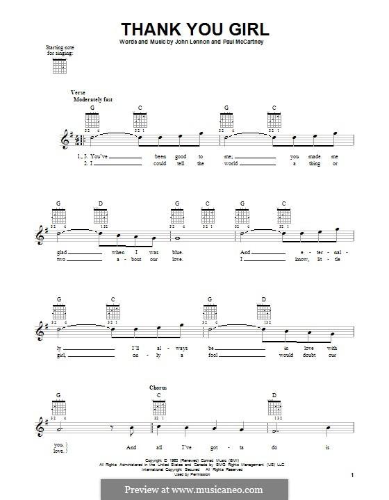 Thank You Girl (The Beatles): Гитарная табулатура by John Lennon, Paul McCartney