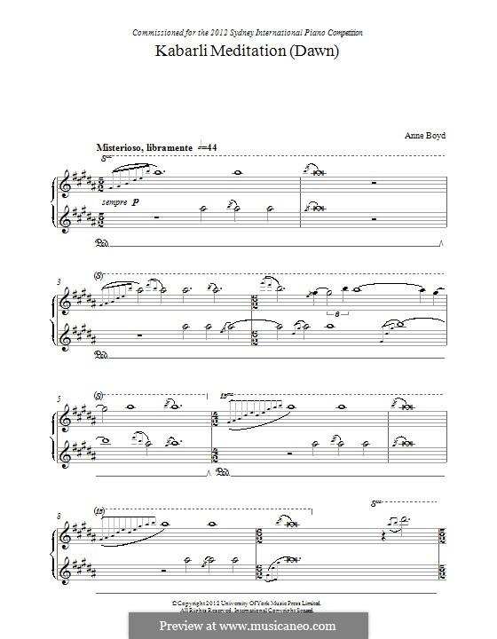 Kabarli Meditation (Dawn): Для фортепиано by Anne Boyd