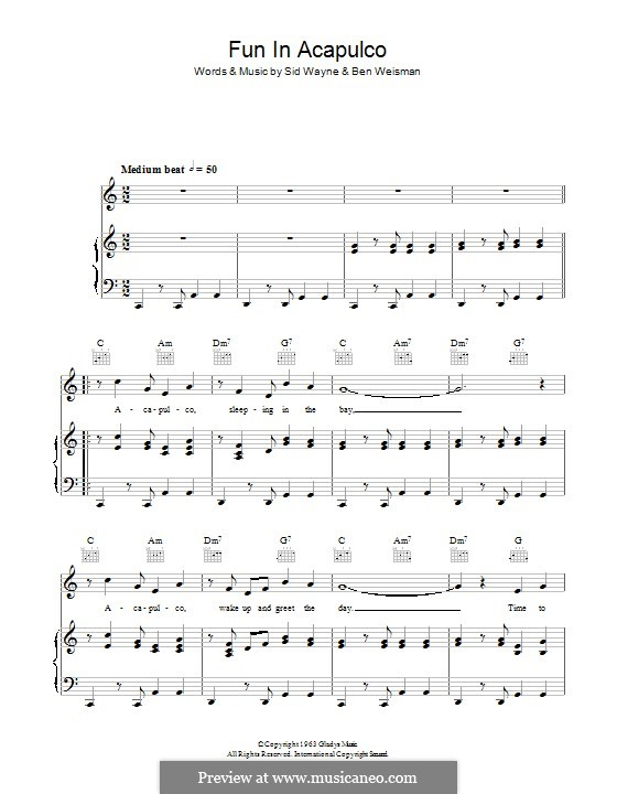 Fun in Acapulco: Для голоса и фортепиано (или гитары) by Ben Weisman, Sid Wayne