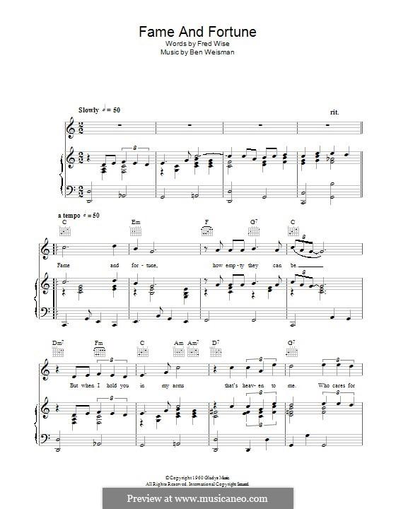 Fame and Fortune: Для голоса и фортепиано (или гитары) by Ben Weisman