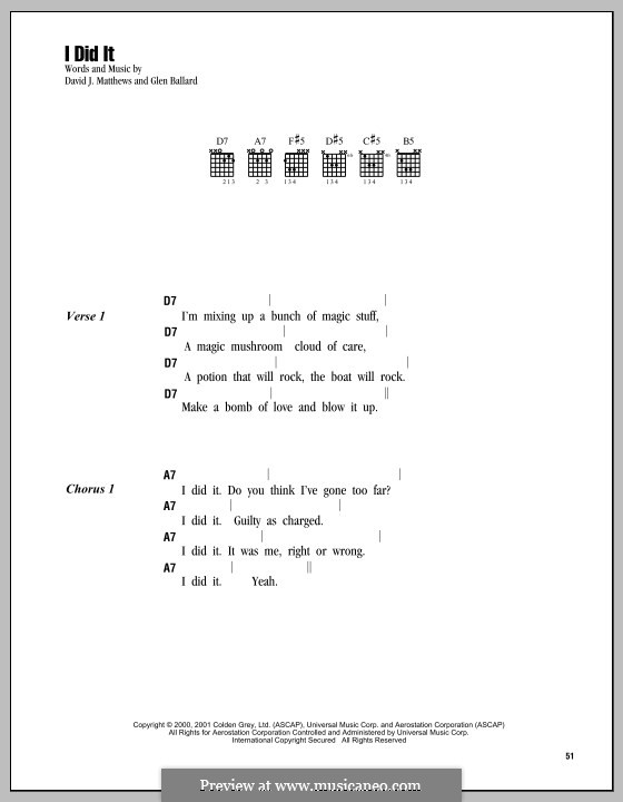 I Did It (Dave Matthews Band): Текст, аккорды by David J. Matthews, Glen Ballard