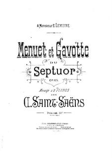 Септет ми-бемоль мажор, Op.65: Менуэт и Гавот, для двух фортепиано в четыре руки – Партия by Камиль Сен-Санс