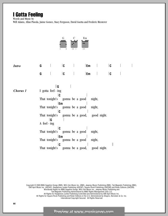 I Gotta Feeling (The Black Eyed Peas): Текст, аккорды by apl.de.ap, David Guetta, Frédéric Riesterer, Jaime Gomez, Stacy Ferguson, will.i.am