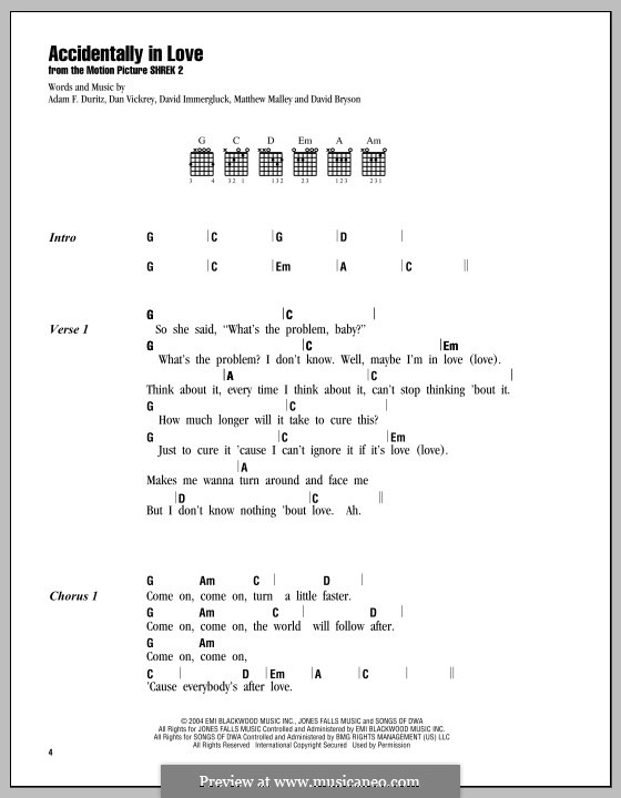 Accidentally in Love (from Shrek 2): Текст, аккорды by Adam F. Duritz, Daniel J. Vickrey, David Bryson, David Immergluck, Matthew Malley