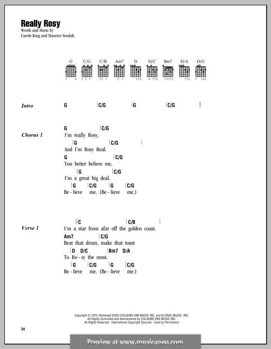Really Rosy: Текст, аккорды by Carole King, Maurice Sendak