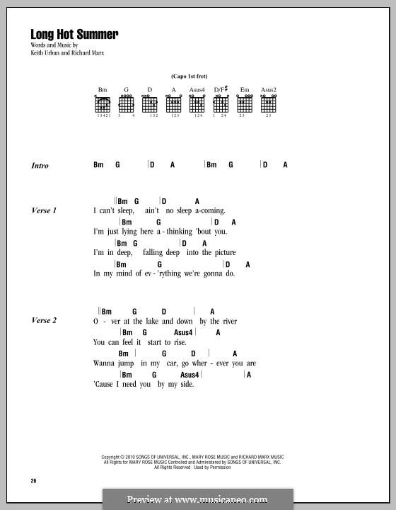 Long Hot Summer: Текст, аккорды by Richard Marx