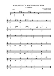 What Shall We Do with the Drunken Sailor: For guitar solo (A minor) by folklore