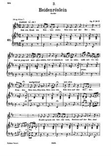 Дикая роза, D.257 Op.3 No.3: Для низкого голоса и фортепиано by Франц Шуберт