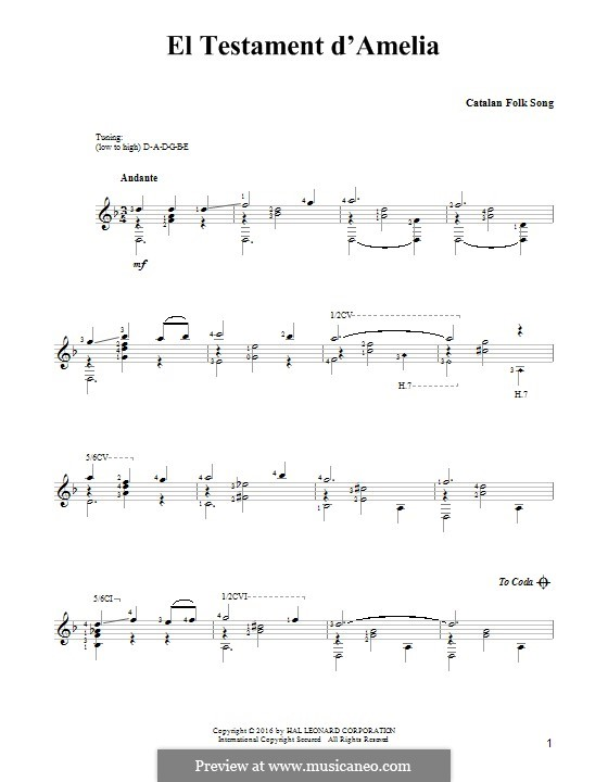 El Testament d'Amelia: Для гитары by folklore