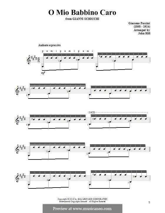 O mio babbino caro: Для гитары by Джакомо Пуччини