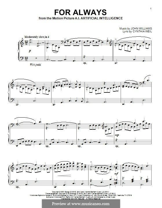 For Always (from AI: Artificial Intelligence): Для фортепиано by John Williams