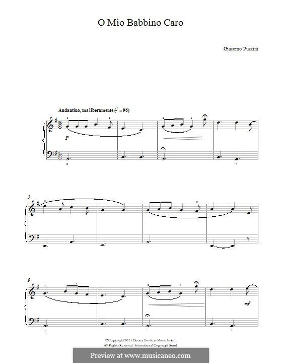 O mio babbino caro: Для фортепиано by Джакомо Пуччини