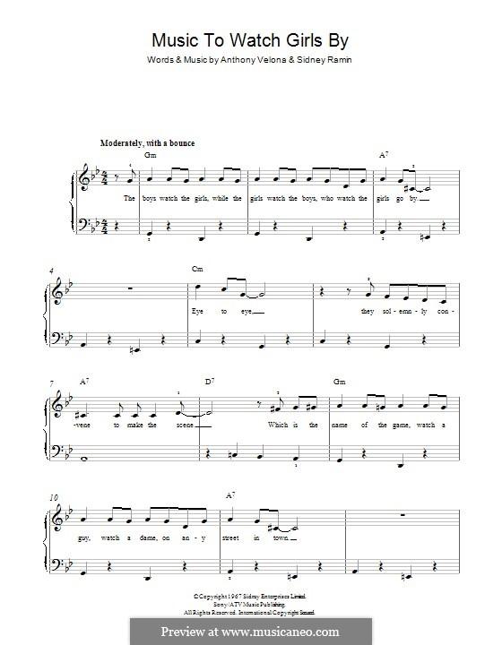 Music to Watch Girls By: Для фортепиано by Anthony Velona, Sidney Ramin