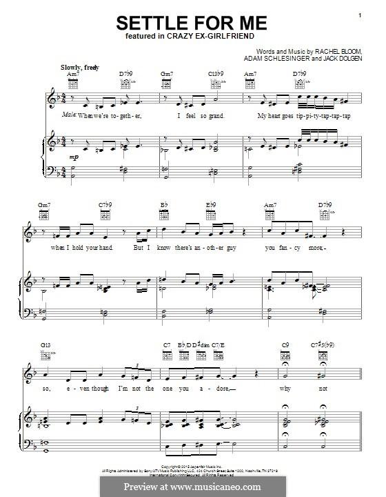 Settle for Me: Для голоса и фортепиано (или гитары) by Adam Schlesinger, Rachel Bloom, Jack Dolgen