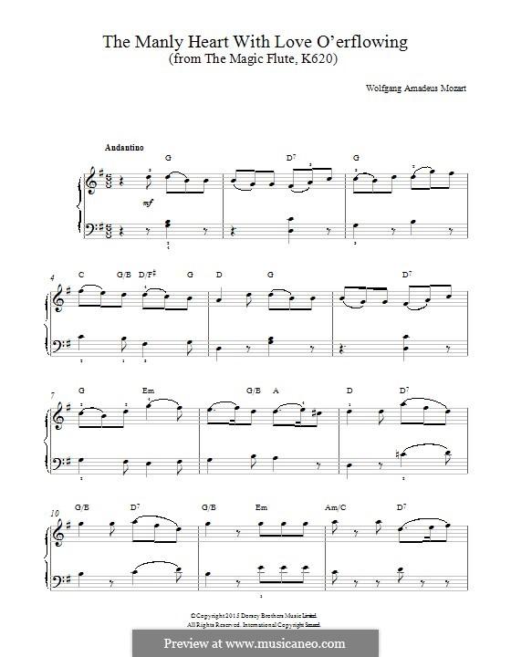 The Manly Heart with Love O'erflowing: Для фортепиано by Вольфганг Амадей Моцарт