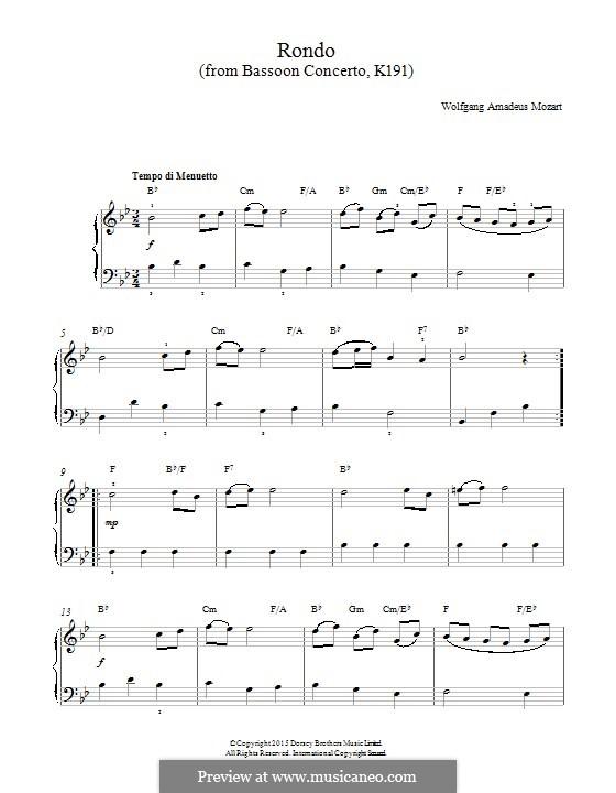 Концерт для фагота с оркестром си-бемоль мажор, K.191: Rondo. Version for piano by Вольфганг Амадей Моцарт