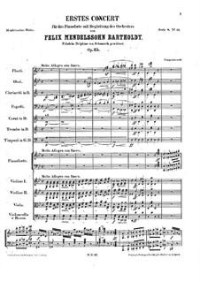 Концерт для фортепиано с оркестром No.1 соль минор, Op.25: Партитура by Феликс Мендельсон-Бартольди