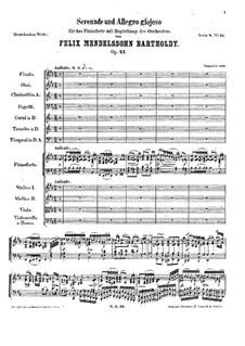 Serenade and Allegro Giocoso, Op.43: Партитура by Феликс Мендельсон-Бартольди
