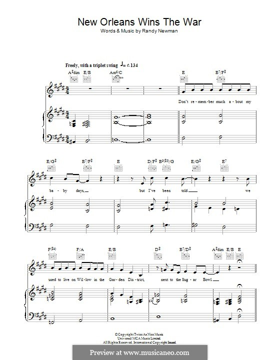 New Orleans Wins the War: Для голоса и фортепиано (или гитары) by Randy Newman