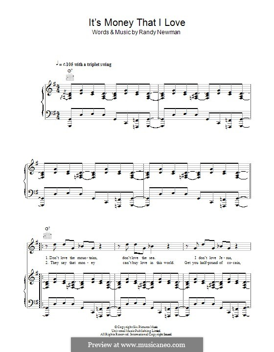 It's Money That I Love: Для голоса и фортепиано (или гитары) by Randy Newman
