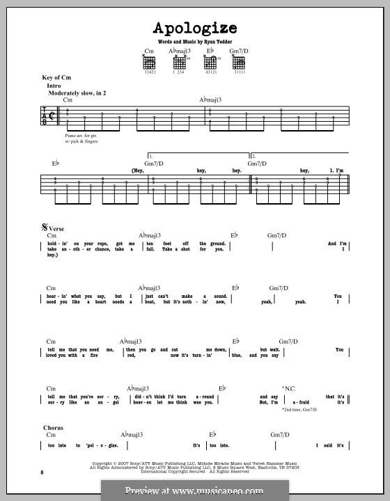Apologize (OneRepublic): Гитарная табулатура by Ryan B Tedder