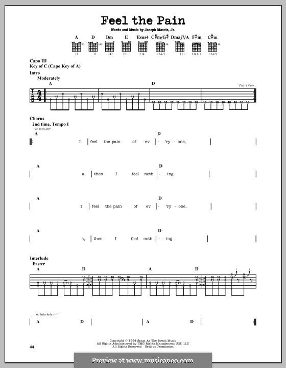 Feel the Pain (Dinosaur Jr.): Гитарная табулатура by Joseph Mascis Jr.