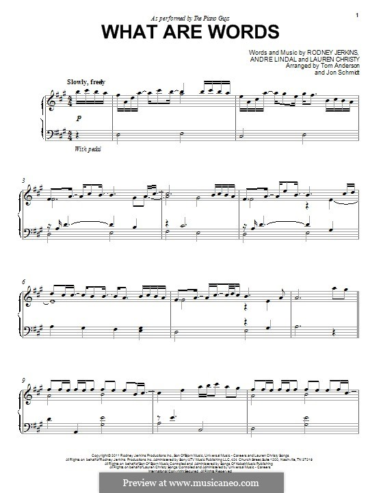 What Are Words: For piano (The Piano Guys) by Andre Lindal, Lauren Christy, Rodney Jerkins