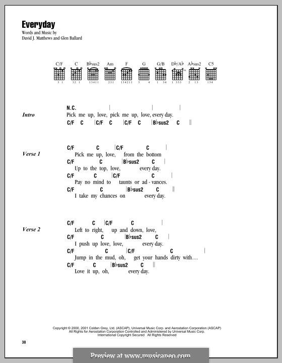 Everyday (Dave Matthews Band): Текст, аккорды by David J. Matthews, Glen Ballard