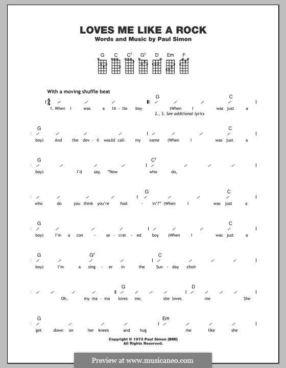 Loves Me Like a Rock: Для укулеле by Paul Simon