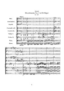 Дивертисмент ми-бемоль мажор, K.113: Партитура by Вольфганг Амадей Моцарт