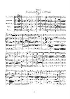 Дивертисмент No.15 си-бемоль мажор 'Lodron', K.287: Партитура by Вольфганг Амадей Моцарт