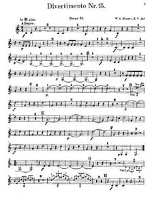 Дивертисмент No.15 си-бемоль мажор 'Lodron', K.287: Партия II валторны by Вольфганг Амадей Моцарт