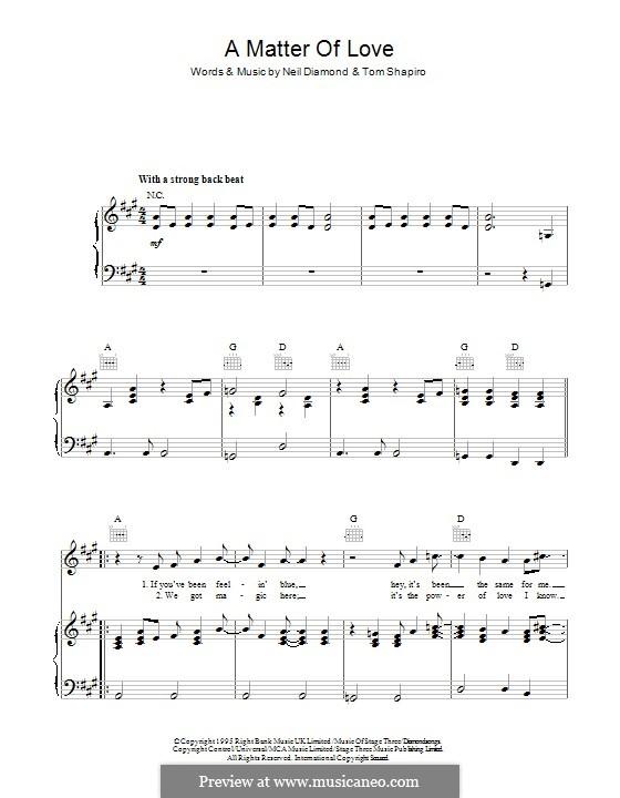 A Matter of Love: Для голоса и фортепиано (или гитары) by Neil Diamond, Tom Shapiro