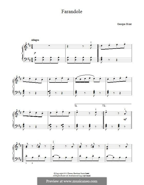 Сюита II: Farandole, for piano by Жорж Бизе
