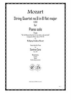 Струнный квартет No.6 си-бемоль мажор, K.159: Arrangement for piano solo by Вольфганг Амадей Моцарт