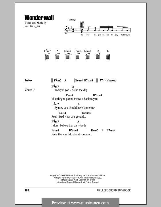 Wonderwall (Oasis): Для укулеле by Noel Gallagher