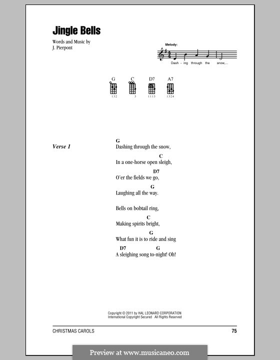 Jingle Bells (Printable scores): Для укулеле by James Lord Pierpont