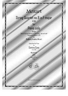 Струнный квартет No.8 фа мажор, K.168: Arrangement for piano solo by Вольфганг Амадей Моцарт