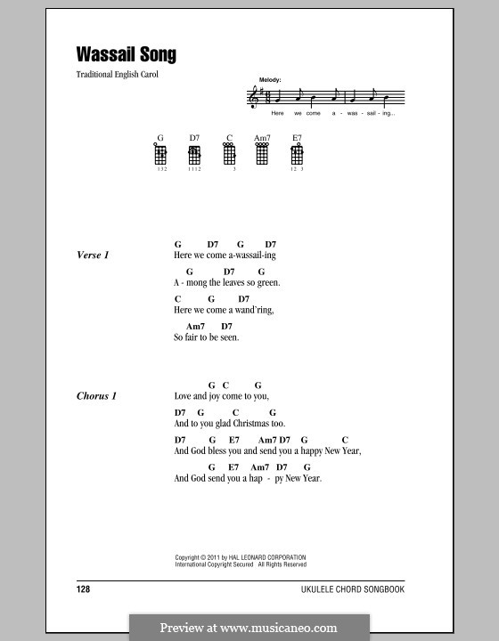 Here we Come a-Wassailing (Printable Scores): Для укулеле by folklore