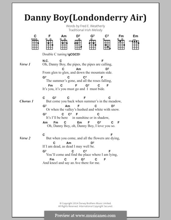 Danny Boy (Londonderry Air) Printable Scores: Текст, аккорды by folklore