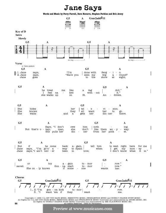 Jane Says (Jane's Addiction): Для гитары by Dave Navarro, Eric Avery, Perry Farrell, Stephen Perkins