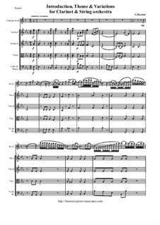 Introduction, Theme and Variation: Score and all parts by Джоаккино Россини