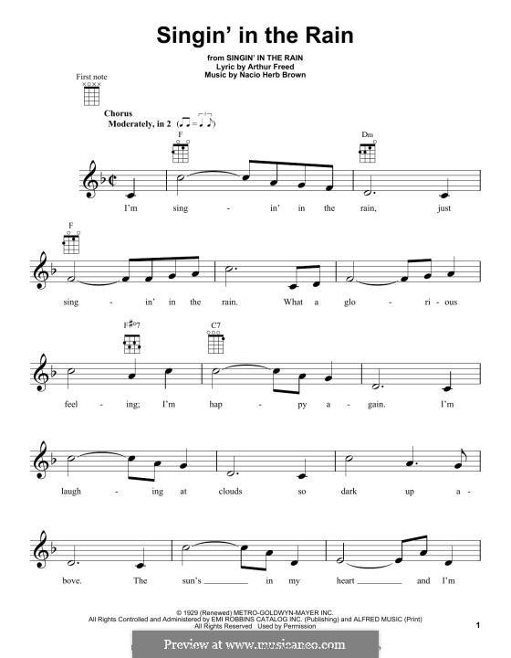 Singin' in the Rain (Gene Kelly): Для укулеле by Nacio Herb Brown