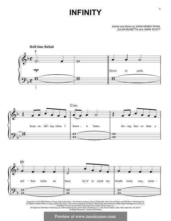 Infinity (One Direction): Для фортепиано by Julian Bunetta, Jamie Scott, John Henry Ryan